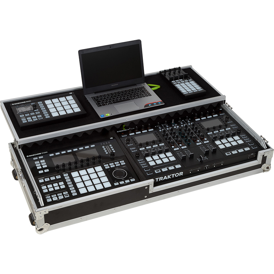 Flight Case Dj Midi Controller & Live Controller Silver (Laptop Stand &  Wheels)