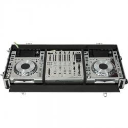 Flight Case Pioneer® CDJ-850 or XDJ-1000MK2/DJM-750MK2 Silver (Wheels).