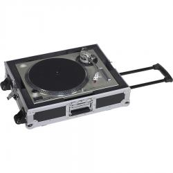 Flightcase for turntables with Trolley handle and wheels.