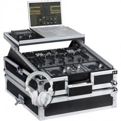 "Flight Case Rackmount DJ 19"" /10U Silver (Laptop Stand)."