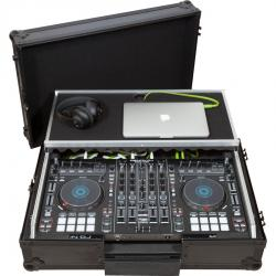 Flight case Midi Controller Denondj® MC-7000 / PRIME2 Black (Laptop Stand, Trolley & Wheels).