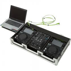 Flight Case Pioneer® XDJ-700 or CDJ-350/ DJM-450 Silver (Laptop Stand)