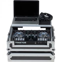 Flight Case Midi Controller NI® TRAKTOR KONTROL S2MK2 Silver (Laptop Stand, Trolley & Wheels).