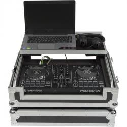 Flight Case Midi Controller Pioneer® DDJ-400/DDJ-SB3 Silver (Laptop Stand, Trolley & Wheels)
