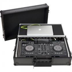 Flight case Midi Controller Pioneer® XDJ-RR, Denon DJ®  MC-7000 Black (Laptop Stand, Trolley & Wheels).