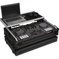 Flight Case Midi Controller Pioneer® DDJ-SX3/DDJ-RX Black (Laptop Stand, Trolley & Wheels).