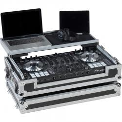 Flight Case Midi Controller Pioneer® DDJ-SX3/DDJ-RX Silver (Laptop Stand, Trolley & Wheels).