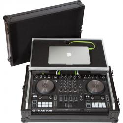 Flight Case N.I®KONTROL S4/S3 & Pioneer® DDJ-SR2 Black (Laptop Stand, Trolley & Wheels).